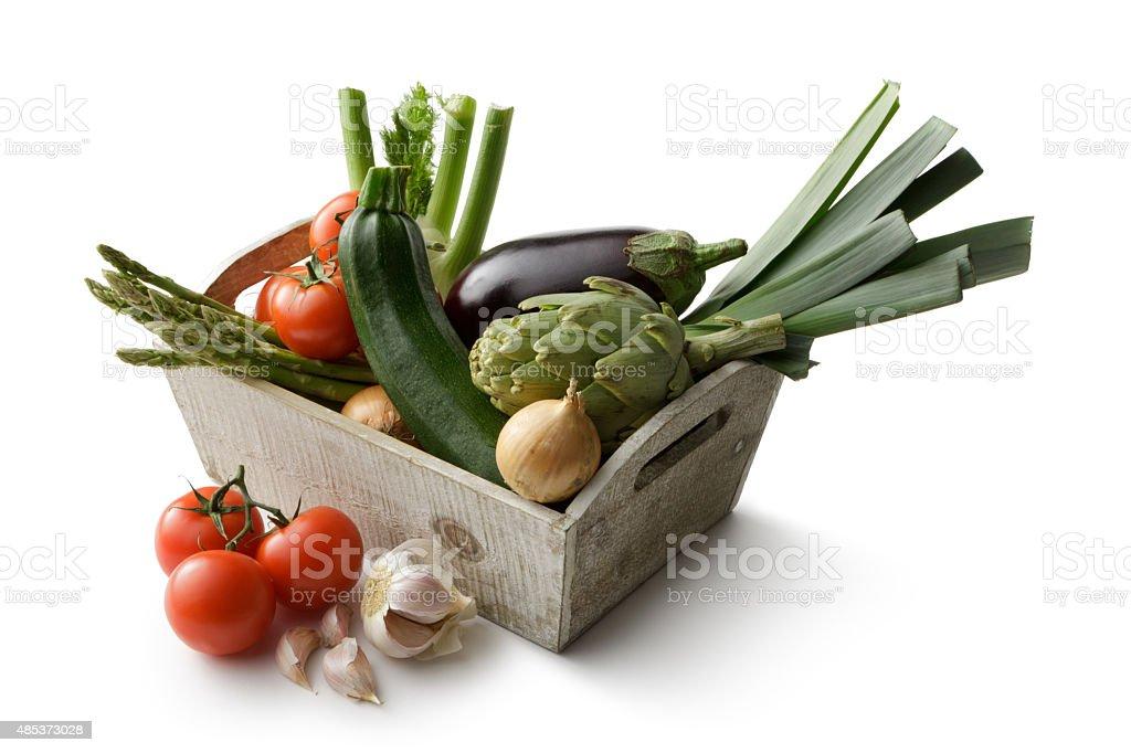 Légumes:  Courgette, tomate, oignon, poireaux, d'aubergines, d'artichaut, de fenouil et sauce à l'ail - Photo