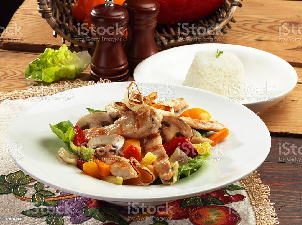 Vegetales con Pollo stock photo