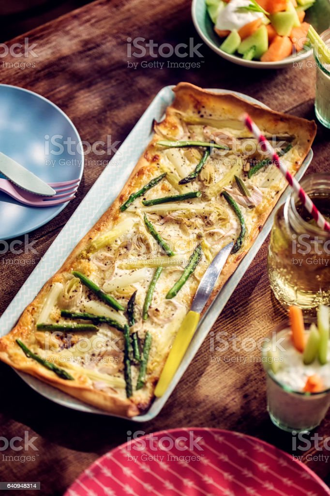 Vegetarian Asparagus Tart stock photo