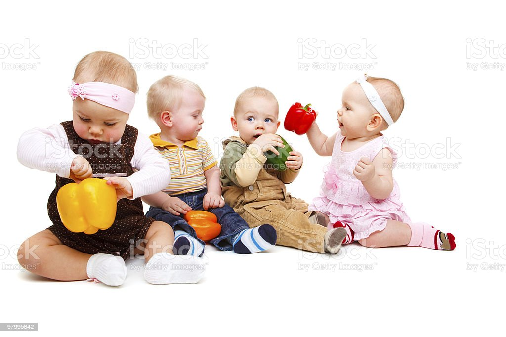 Vegetarian babies royalty free stockfoto