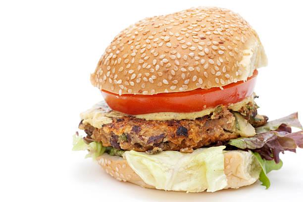 vegetarian black bean hamburger on bun stock photo