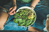 istock Vegetarian breakfast with spinach, arugula, avocado, seeds and sprouts 672439146