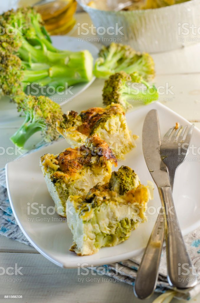 Vegetarian  broccoli quiche stock photo