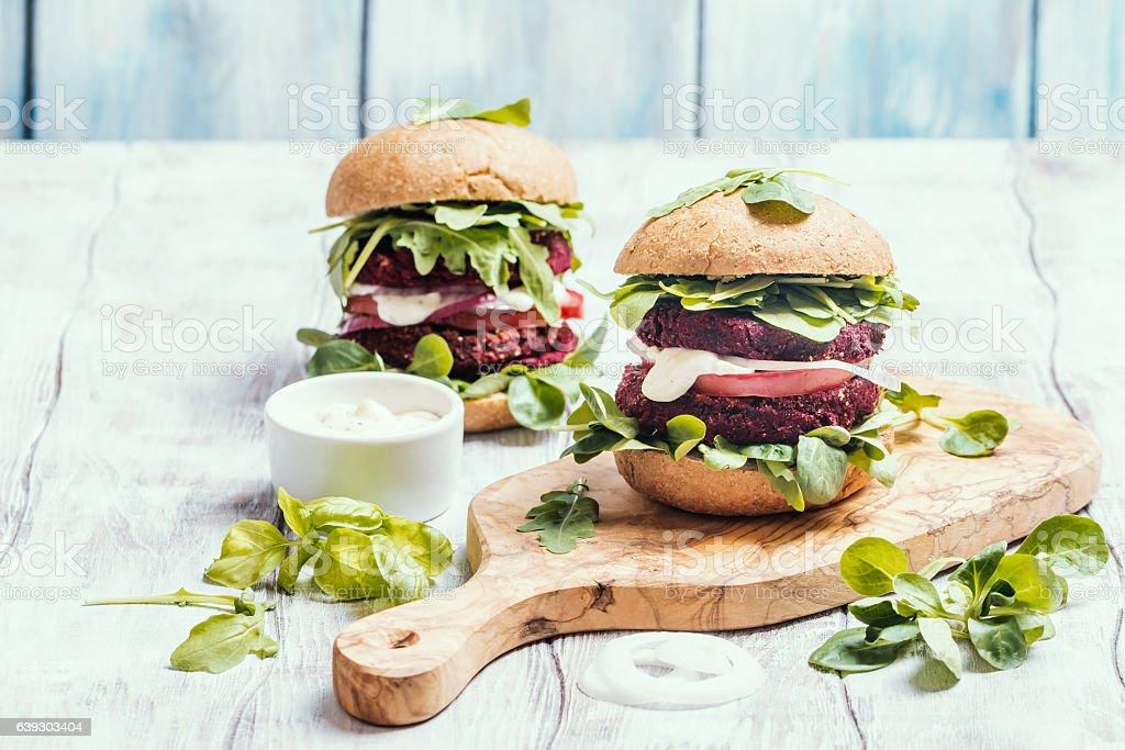 Vegetarian burger made of beetroot stock photo
