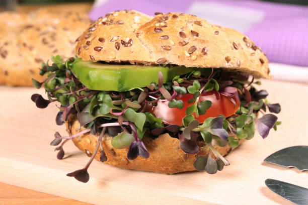 Vegetarian burger with fresh microgreens Vegetarian burger with fresh microgreens microgreen stock pictures, royalty-free photos & images