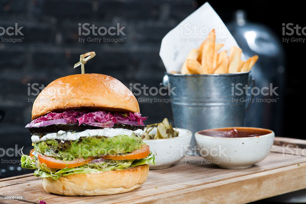 Vegetarian burger with fries stock photo