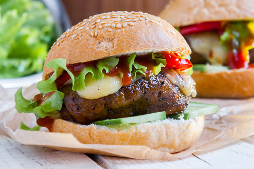 Vegetarian burger with the seitan - vegan meat