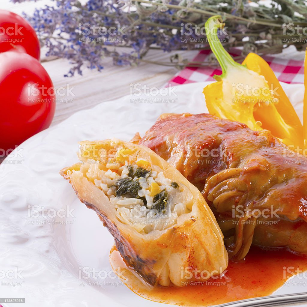 Vegetarian cabbage rolls with spinach and salsa royalty-free stock photo