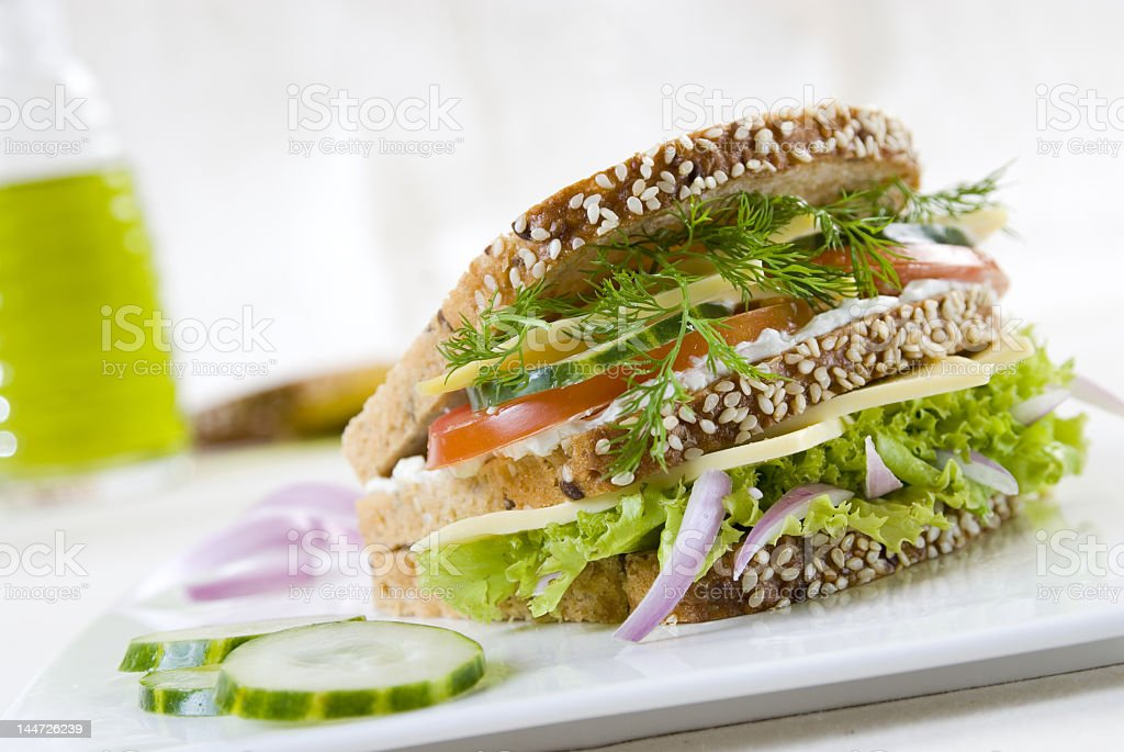 Vegetarian cheese and salad sandwich royalty-free stock photo