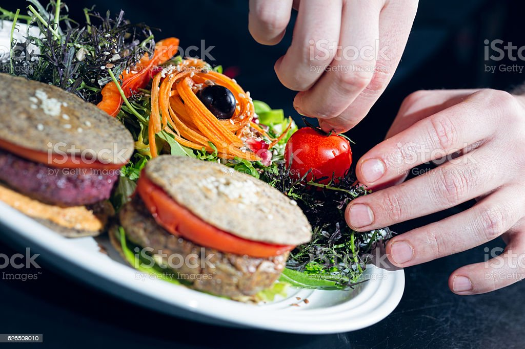 Vegetarian chickpea and beetroot burgers stock photo
