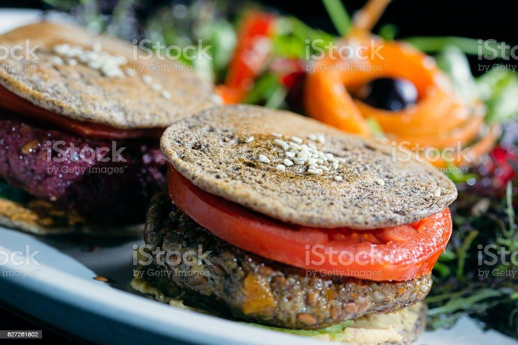 Vegetarian chickpea burger stock photo