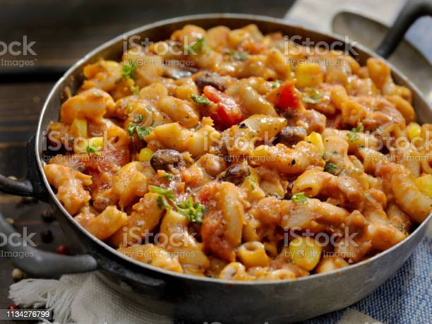 Vegetarian Chili And Macaroni Stock Photo - Download Image Now