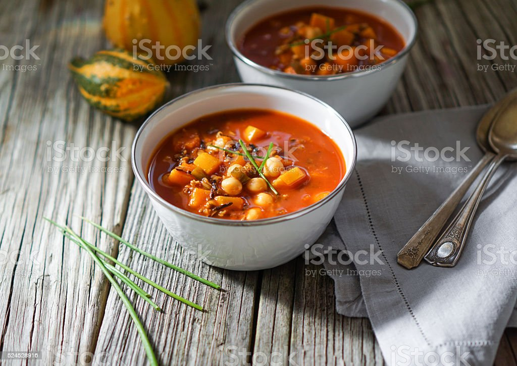 Vegetarian Chili, Posole. stock photo