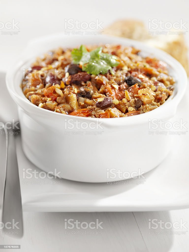 Vegetarian Chili with Three Kinds of Beans stock photo