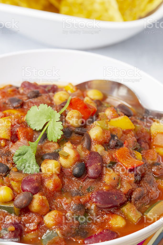 Vegetarian Chili with Tortilla Chips royalty-free stock photo