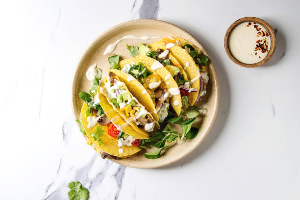 Vegetarian corn tacos stock photo