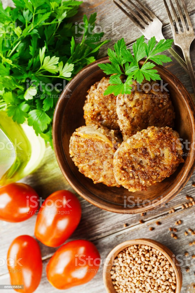 Vegetarian cutlets of  buckwheat stock photo