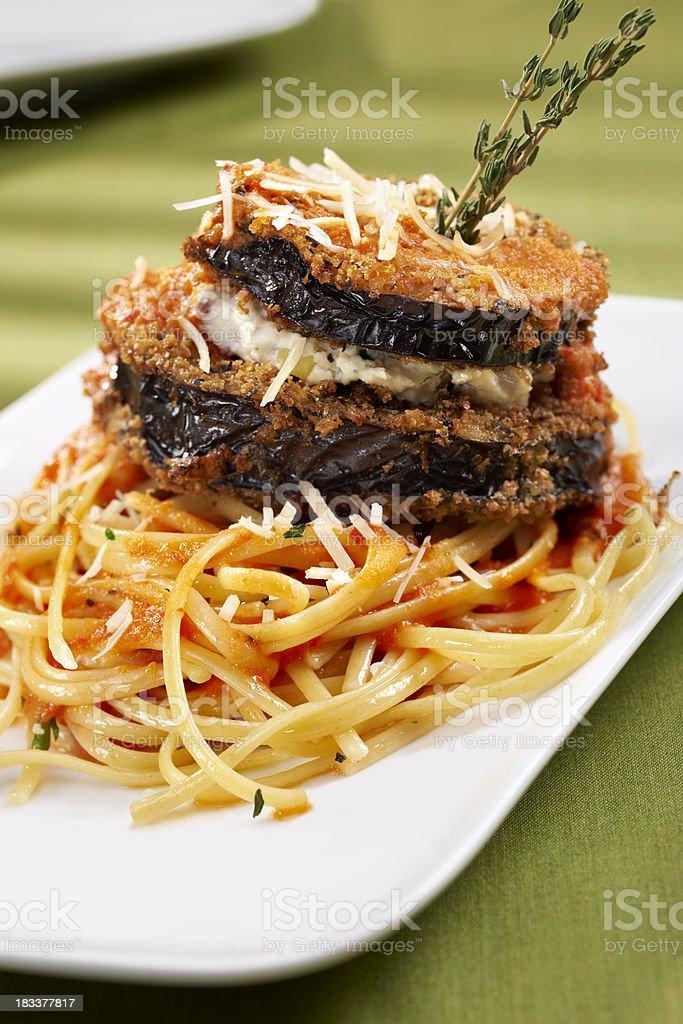 Vegetarian Eggplant Parmesan with Spaghetti stock photo