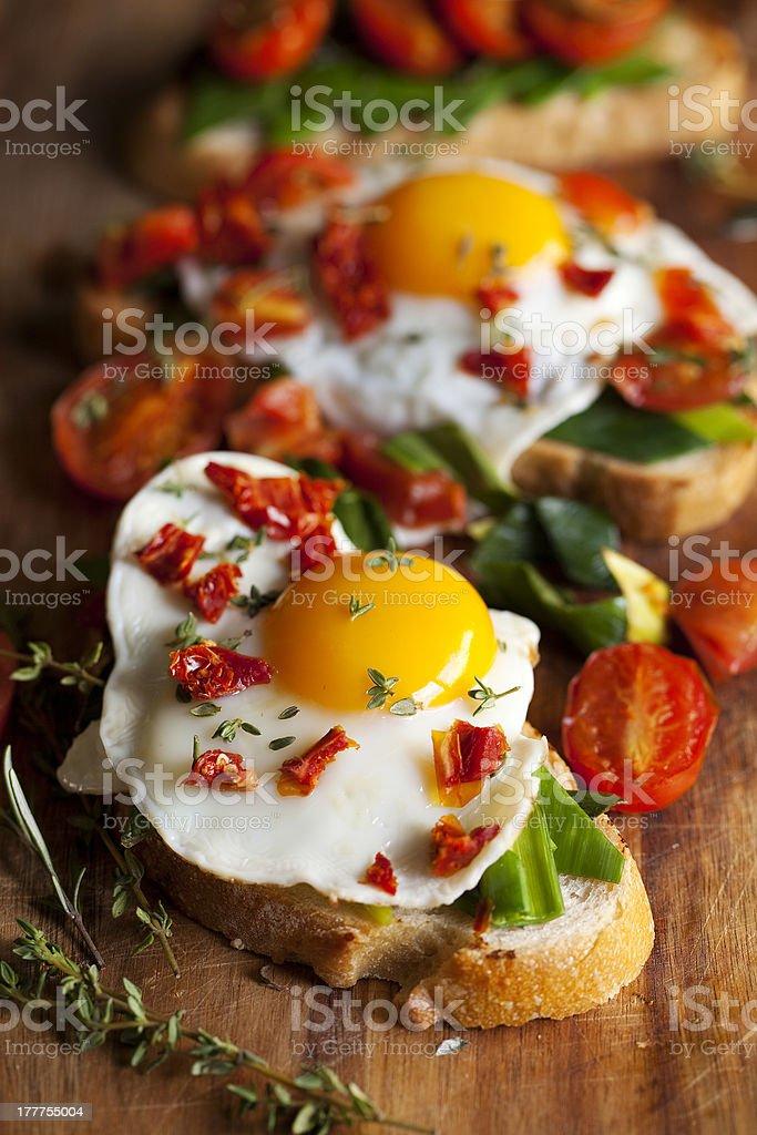 Vegetarian eggs on toast royalty-free stock photo