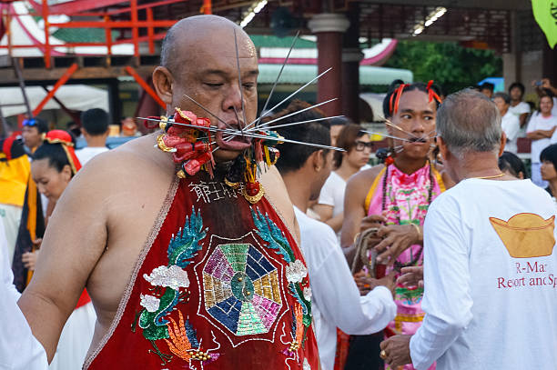 vegetarian festival 2014 in phuket, thailand - buddhist tattoos stock-fotos und bilder