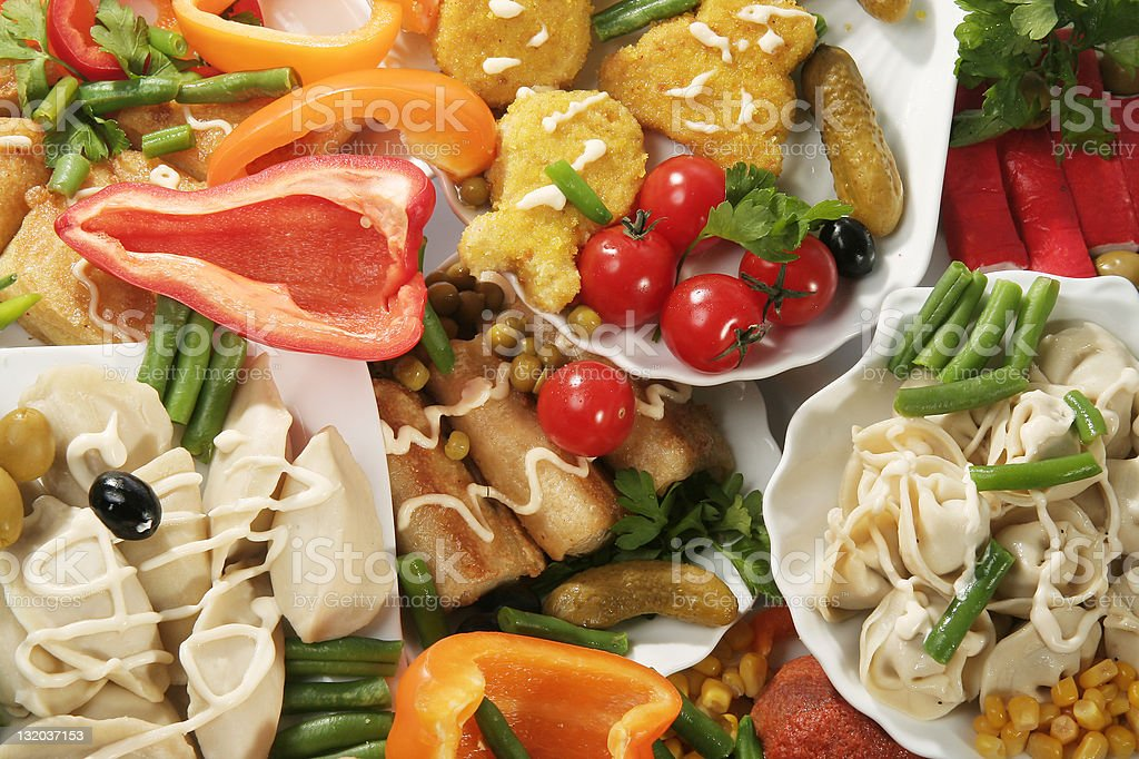 Vegetarian food on a table royalty-free stock photo