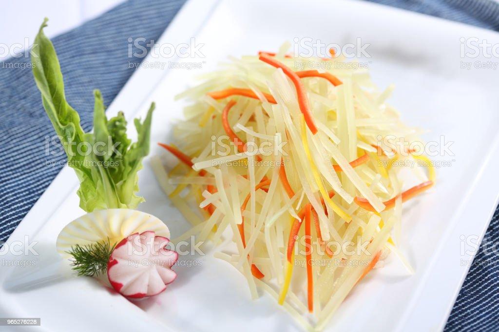 Vegetarian food & shredded potatoes royalty-free stock photo