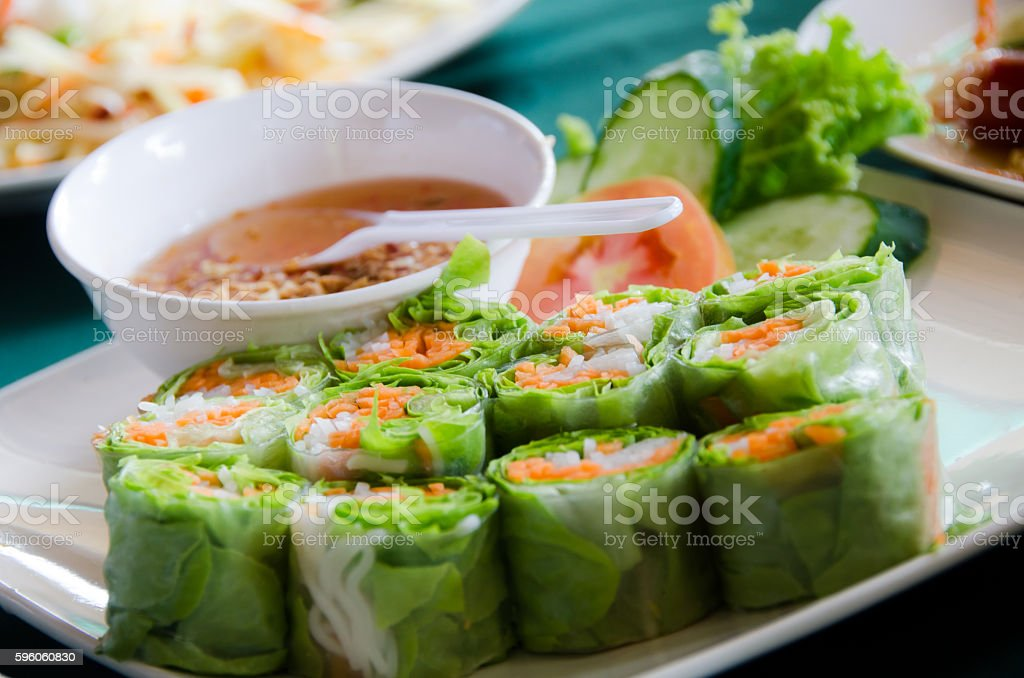 Vegetarian fresh spring rolls royalty-free stock photo