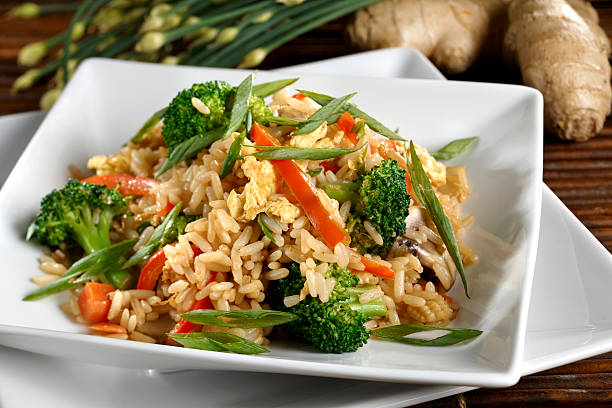 Vegetarian Fried Rice with Vegetables, Healthy stock photo