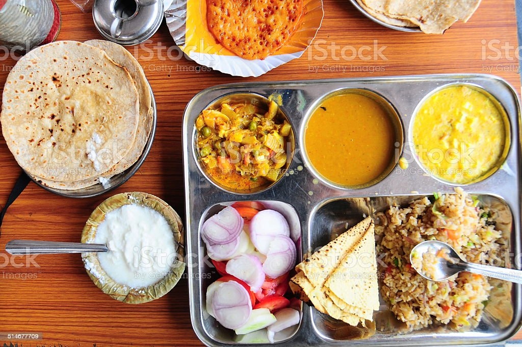 vegetarian Indian Thali stock photo
