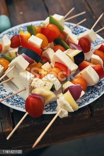 Vegetarian Kebab with Grilled Cheese and Vegetables