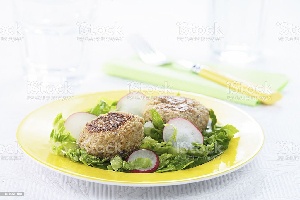Vegetarian Meatballs and Salad royalty-free stock photo