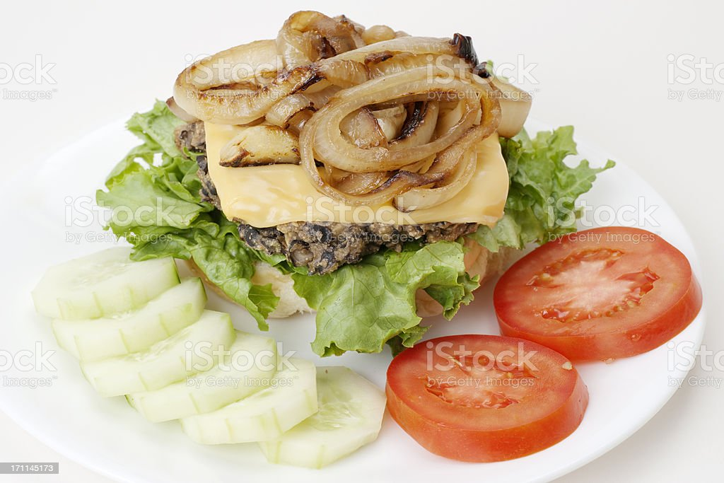 vegetarian meatless open face cheese burger plate stock photo