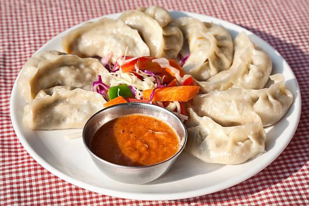 Vegetarian Nepalese momo stock photo