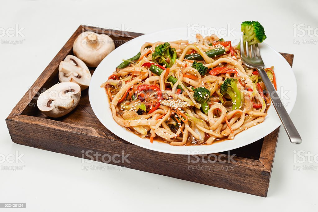 Vegetarian noodles stock photo