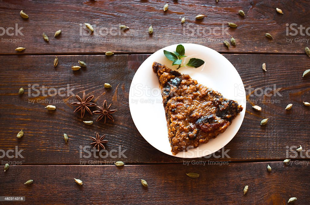vegetarian nut pie and  spices stock photo