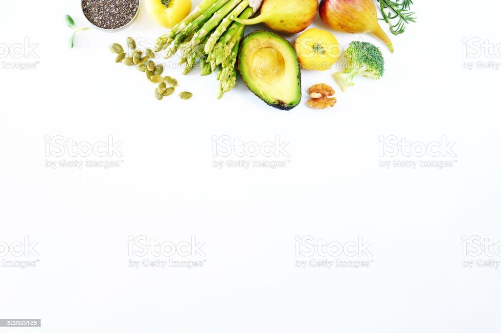 Vegetarisch oder sauber Essen Konzept Hintergrund mit einem Leerzeichen kopieren. – Foto