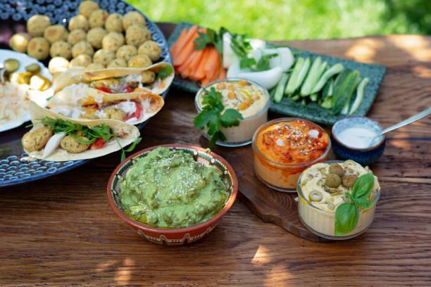 Vegetarian picnic on a wooden oak table hummus falafel pita spinach picture id1254737514?b=1&k=6&m=1254737514&s=612x612&w=0&h=dyz2lt ayov9xmhkkgnwlgdpqfl0rpheguxkq8vljds=