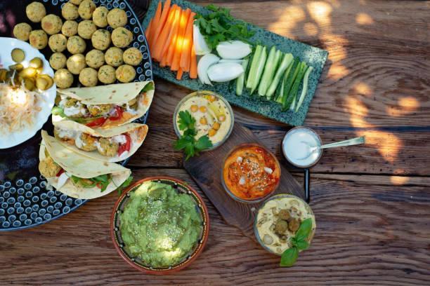Vegetarian picnic on a wooden oak table hummus falafel pita spinach picture id1254737516?b=1&k=6&m=1254737516&s=612x612&w=0&h=ryahly2zhyfnaybiz2fefy1yr9mjxx7bc7dq mbb7nk=