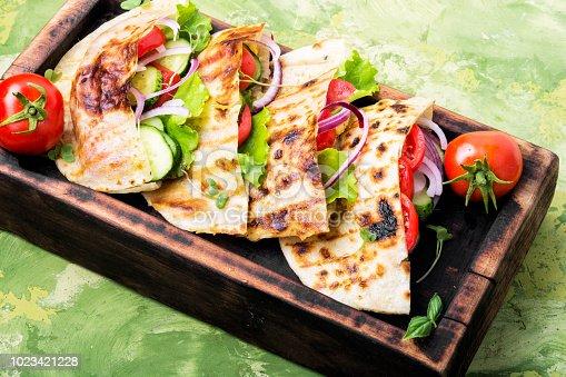 Vegetarian Pita Sandwich with fresh vegetables.Dietary food. Vegan.