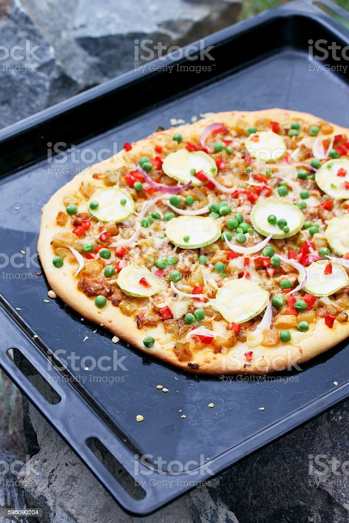 Vegetarian pizza with zucchini royalty-free stock photo