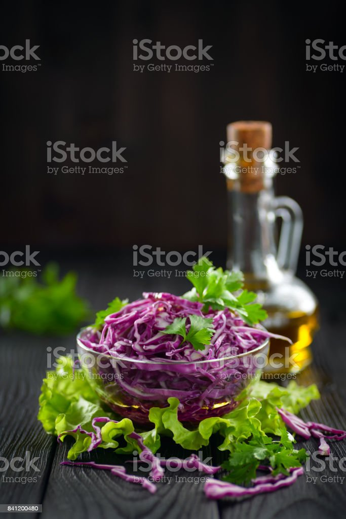 Vegetarian red cabbage salad with olive oil, concept of a healthy diet stock photo