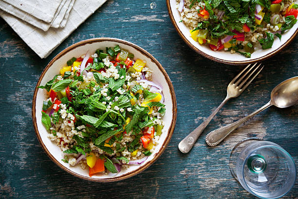 vegetarian salad - quinoa stock photos and pictures