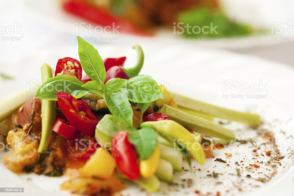 Vegetarian salad with zucchini royalty-free stock photo