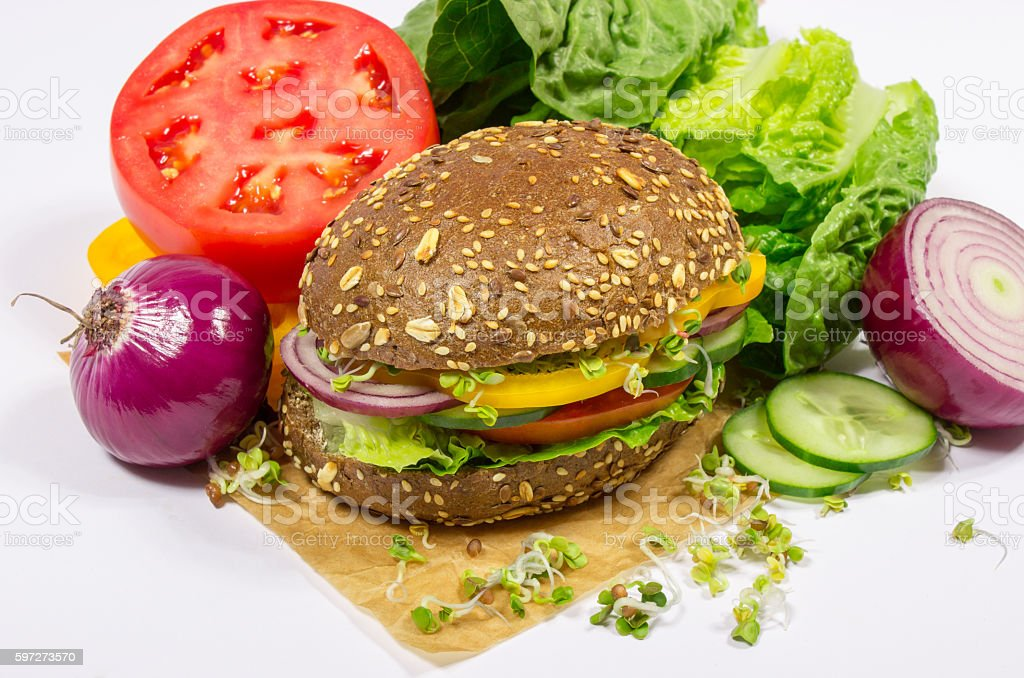 Vegetarian sandwich with fresh vegetables. royalty-free stock photo