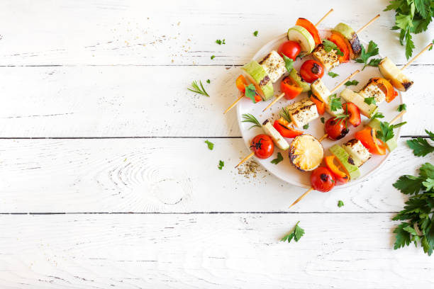 vegetarian skewers - grilled vegetables stock photos and pictures
