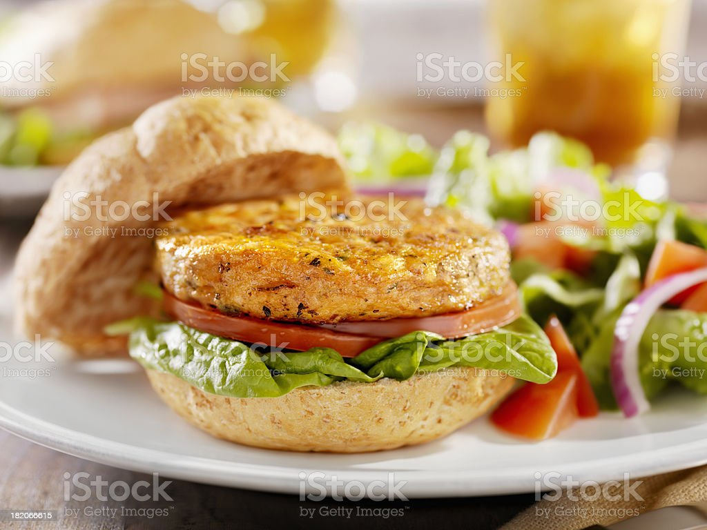 Vegetarian Soy Burger with Spinach stock photo