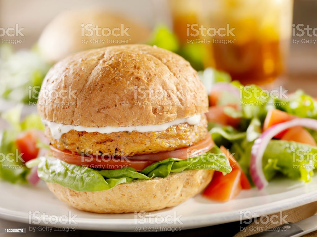 Vegetarian Soy Burger with Spinach royalty-free stock photo