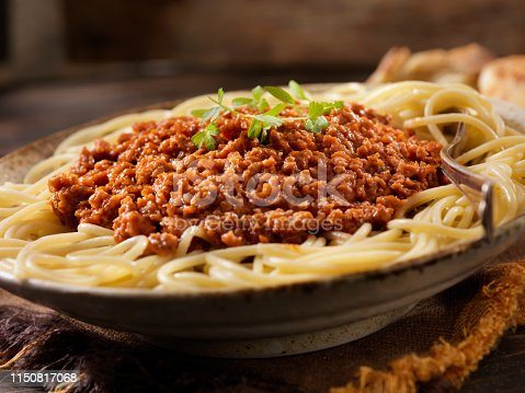 Vegetarian Spaghetti Bolognese with Plant Based Protein Meat Substitute