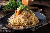 Spaghetti with Parmesan Cheese, Roasted Cauliflower and Breadcrumbs.