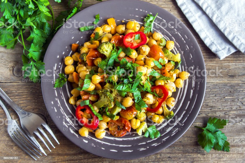 vegetarian stew with chickpeas stock photo
